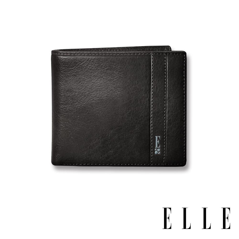 福利品 ELLE HOMME 壓紋Logo6卡三折窗格真皮短夾-紳士黑