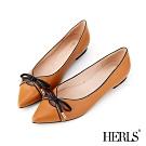 HERLS 全真皮蝴蝶結滾邊配色尖頭平底鞋-駝色