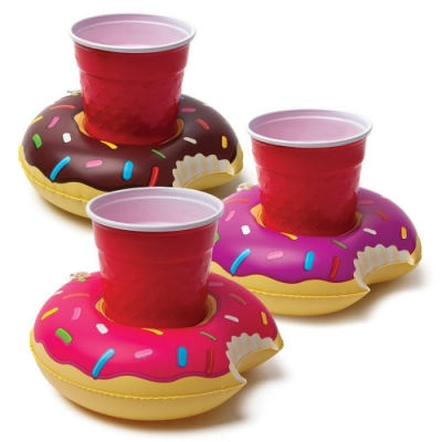 【美國Big Mouth】造型飲料杯杯架/游泳圈(3入一組) (甜甜圈,天鵝,水果,貝殼,彩虹 4款任選)