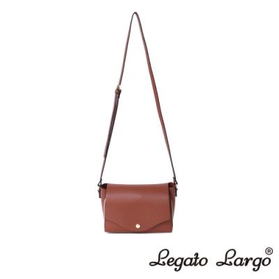 Legato Largo 驚異的輕量化 小法式極簡時尚 兩用皮夾斜背包 紅棕色