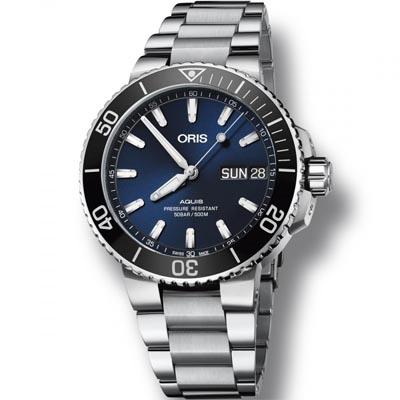 ORIS 豪利時 Aquis 時間之海潛水機械星期日期腕錶-藍45.5mm