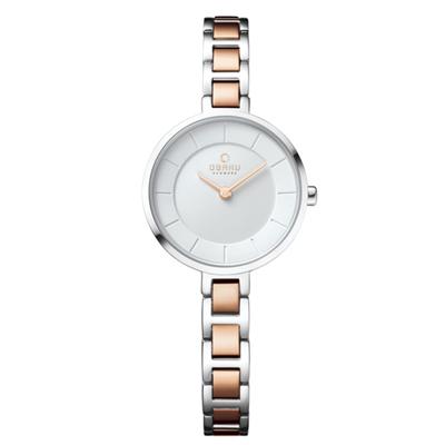 OBAKU 氣質雅致雙色時尚腕錶-白X玫瑰金(V183LXCISC)/28mm