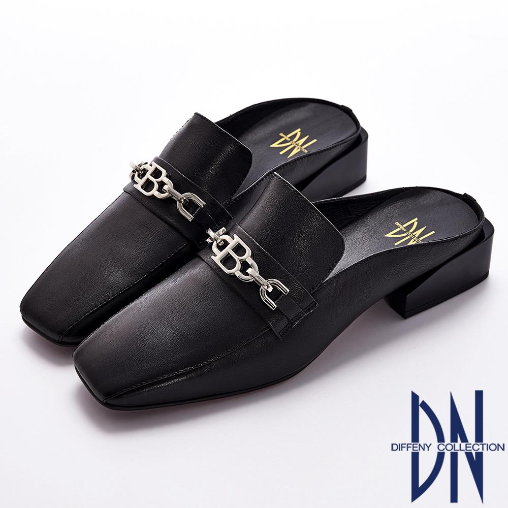 DN 俐落有型 羊皮金屬鍊點綴方頭樂福穆勒鞋-黑