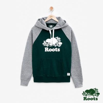 ROOTS女裝  庫柏海狸刷毛撞色連帽上衣-綠