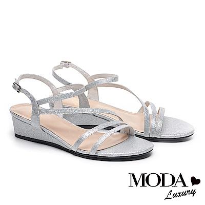 涼鞋 MODA Luxury 輕奢別緻金蔥繫帶高跟楔型涼鞋-銀