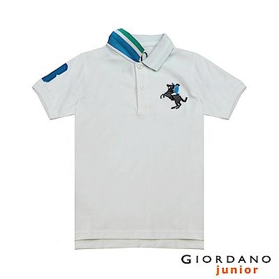 GIORDANO 童裝彩色拿破崙刺繡彈力萊卡短袖POLO衫-01 標誌白