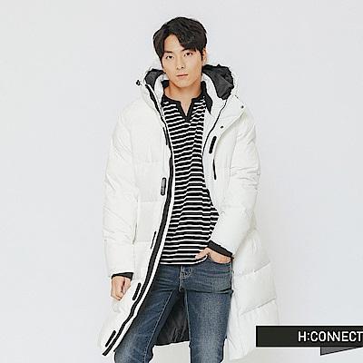 H:CONNECT 韓國品牌 男裝-極暖連帽長版羽絨外套-白