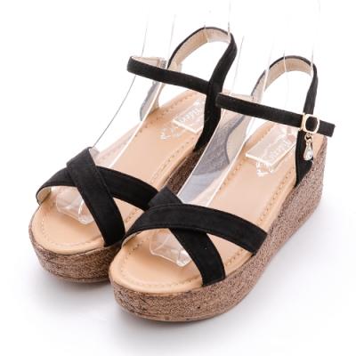 River&Moon極簡交叉絨質大地色 6cm顯瘦楔跟輕量涼鞋 黑