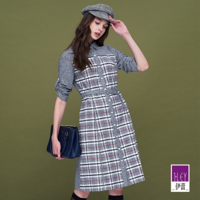 ILEY伊蕾 經典格紋純棉收腰襯衫洋裝(藍)