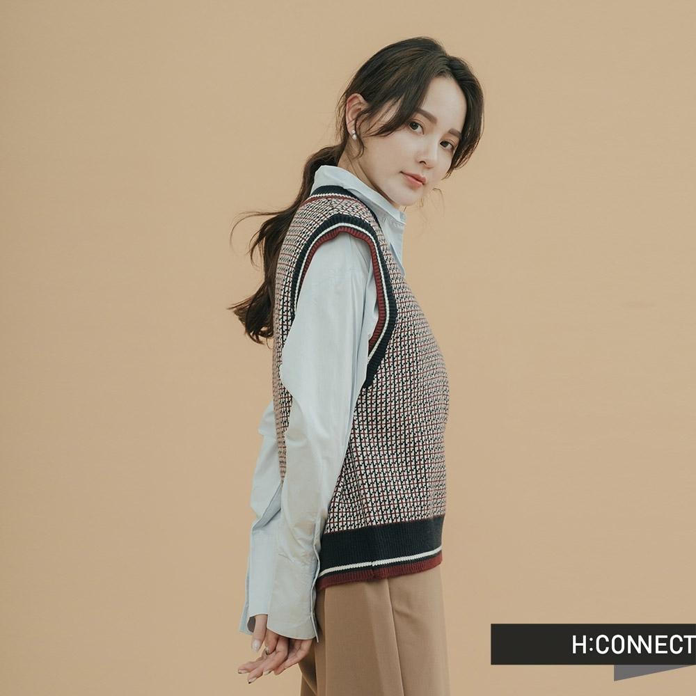 H:CONNECT 韓國品牌 女裝-滾邊復古格紋針織背心-藍