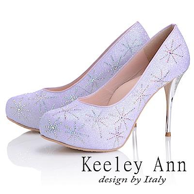 Keeley Ann 優雅迷人~水鑽唯美質感真皮軟墊高跟鞋(紫色)
