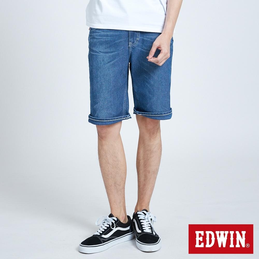 EDWIN JERSEYS 迦績 PK EJ3涼感低腰寬鬆 牛仔短褲-男-拔洗藍