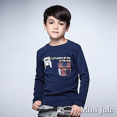 Mini Jule 上衣 車子字母印花格紋單口袋上衣(寶藍)