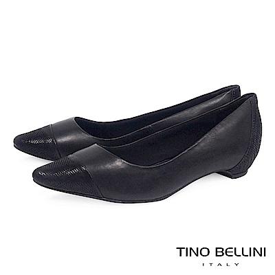Tino Bellini 巴西進口知性品味舒足低跟鞋 _ 黑
