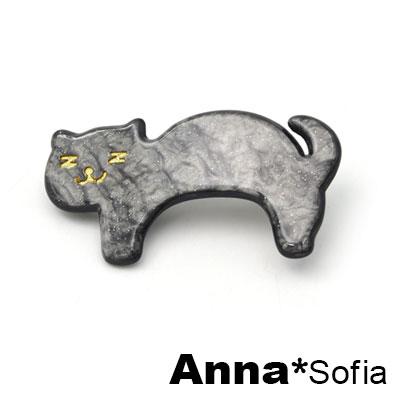 AnnaSofia 日系Z眼貓星點雲紋 純手工小髮夾(黑系)