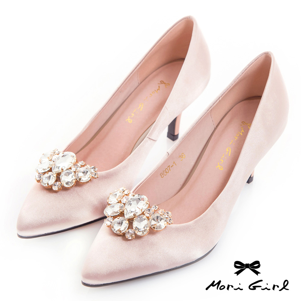 Mori girl 2WAY可拆式水鑽緞面中低跟鞋 淺金