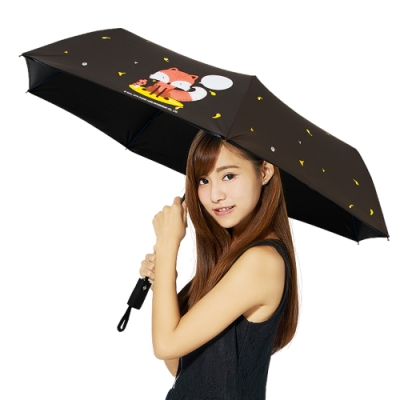 【雙龍牌】狐狸降溫13度黑膠自動開收傘抗UV晴雨傘B6290NB1-爵士灰