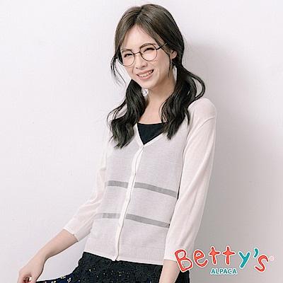betty's貝蒂思 條紋開襟透膚針織罩衫(白色)