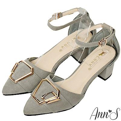 Ann'S都會女子-六角金扣繫帶粗跟尖頭鞋-灰
