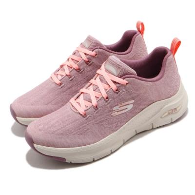 Skechers 休閒鞋 Arch Fit Comfy Wave 女鞋 專利鞋墊 足部舒壓平衡 回彈 避震 粉 米 149414MVE