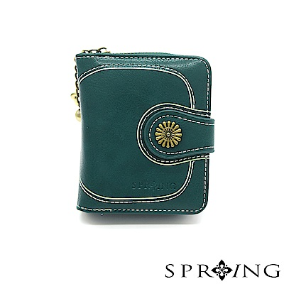 SPRING-日光系列-拉鍊式短夾-湖水藍綠
