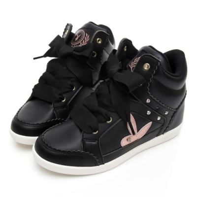 PLAYBOY 花邊兔兔內增高休閒鞋-黑-Y5715CC
