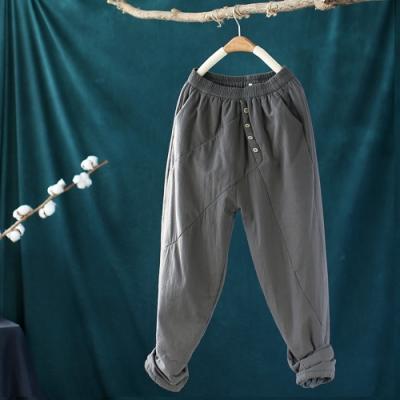 素色棉質拼接鬆緊腰棉褲外穿寬鬆夾棉長褲-設計所在
