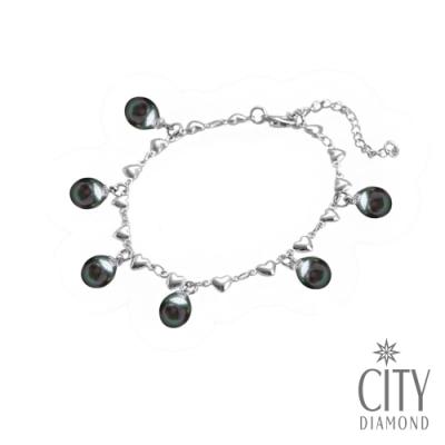 City Diamond引雅 【手作設計系列 】天然黑珍珠手鍊-愛心滿滿