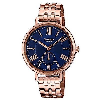 SHEEN 暗夜的微光女神不鏽鋼腕錶-藍面(SHE-3066PG-2A)/41mm