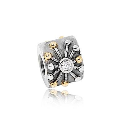 Pandora 潘朵拉 14K金純銀鑲鋯花形 純銀墜飾 串珠
