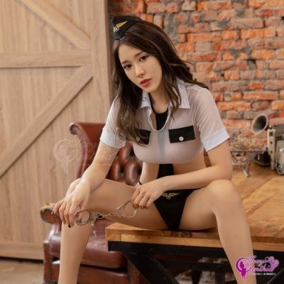 Sexy Cynthia 角色扮演 經典黑白透視薄紗短版上衣丁字褲連身衣三件式警察角色服-黑白F