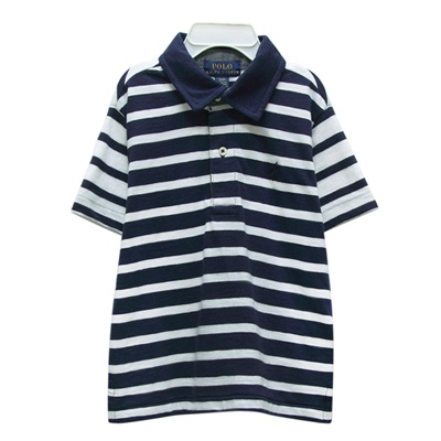 Ralph Lauren 童裝經典小馬條紋短袖POLO衫-藍/白