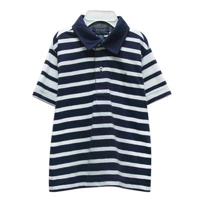 Ralph Lauren 大童經典小馬條紋短袖POLO衫-藍/白