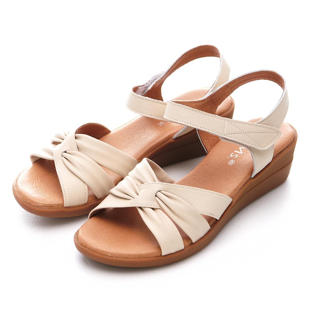 G.Ms. MIT系列-交叉扭結牛皮楔型坡跟涼鞋-杏米