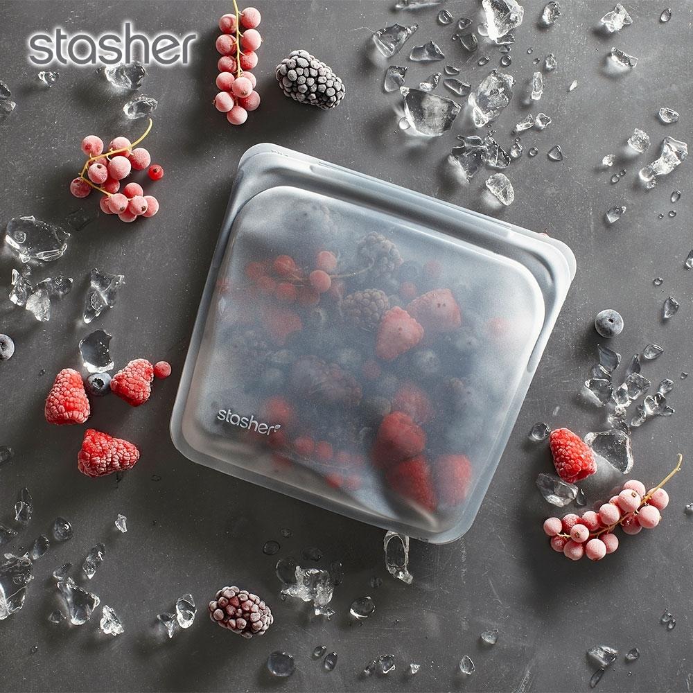 美國Stasher 方形環保按壓式矽膠密封袋-成熟黑(快)