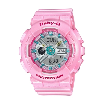 BABY-G多層次金屬粉嫩感亮彩休閒錶BA-110CA-4A-粉亮紅43.4mm