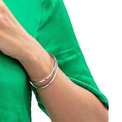 CALVIN KLEIN Outline 系列描繪動感白鋼水晶開放式手環-XS