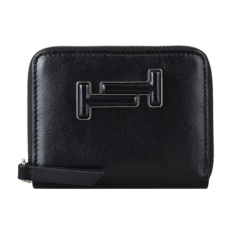 TOD'S經典雙T立體LOGO牛皮6卡拉鍊零錢包(黑)