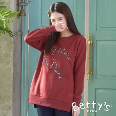 betty's貝蒂思 內刷毛圓領長版T-shirt(暗紅)