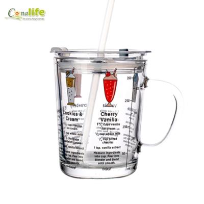 Conalife 含蓋刻度玻璃杯(贈矽膠吸管)_2入組
