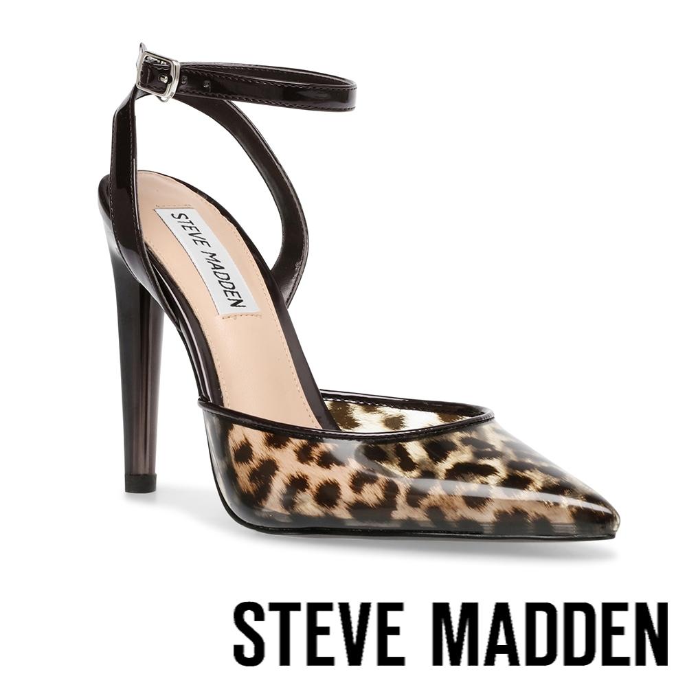 STEVE MADDEN-ALESSI 半透明鞋面繞踝高跟涼鞋-豹紋