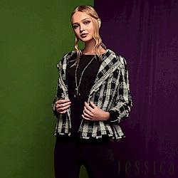 JESSICA - 時尚黑白格翻領混羊毛罩衫