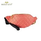 【BAGGLY&CO】質感菱格紋真皮尼龍鏈條胸包腰包(珊瑚橘)