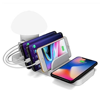 Qi-P10 LED蘑菇燈三孔USB輸出10W快充Qi無線充電座