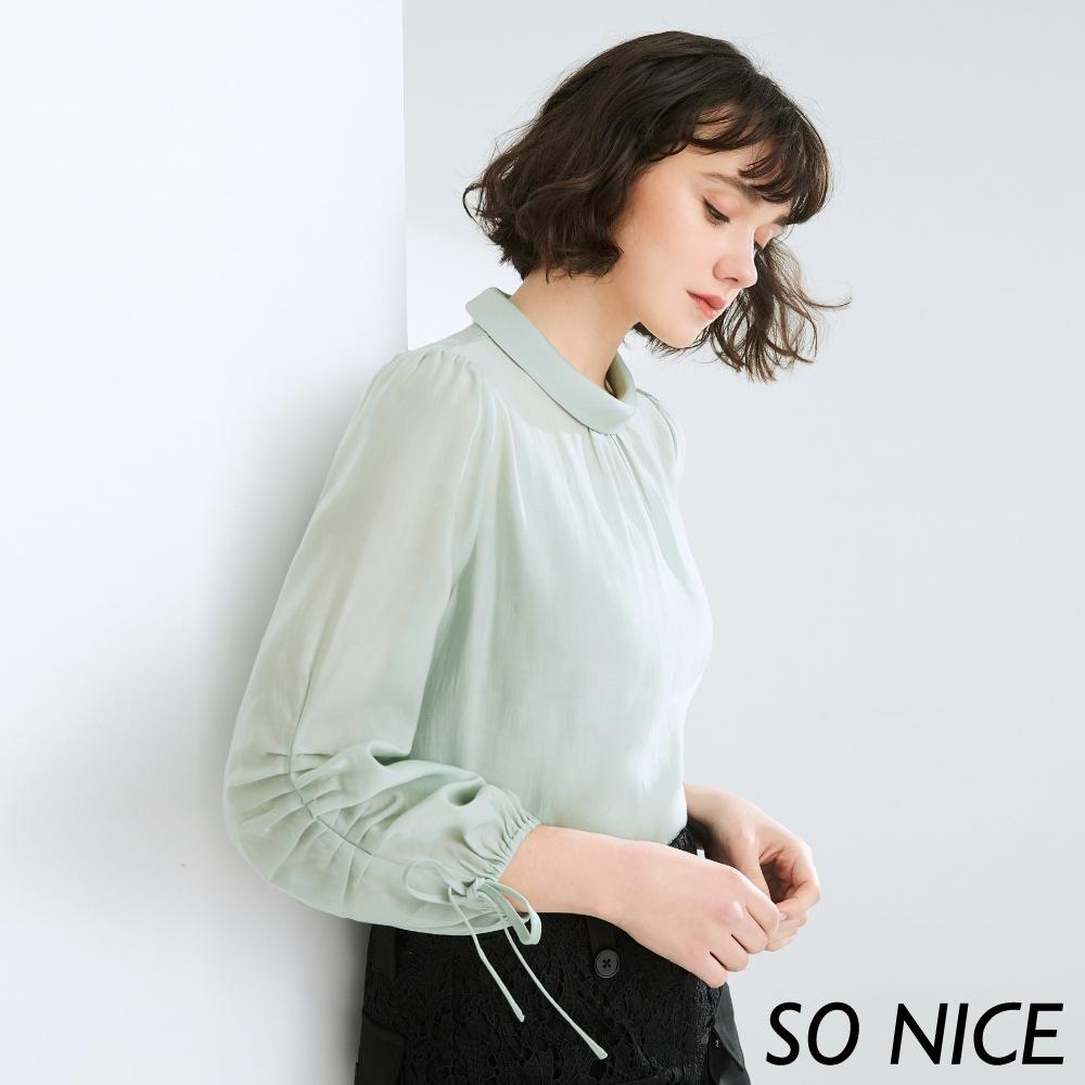 SO NICE氣質抓褶綁帶造型袖上衣