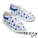 休閒鞋 MODA Luxury 經典格紋拼接全真皮厚底休閒鞋-藍