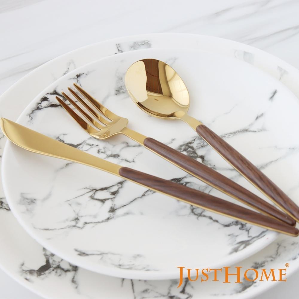 Just Home洛娜304不鏽鋼鍍鈦木紋刀叉匙6件餐具組(餐匙+餐叉+餐刀)