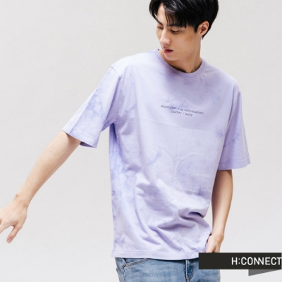 H:CONNECT 韓國品牌 男裝 -獨特感暈染標語T-Shirt-紫