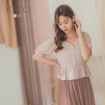 東京著衣-YOCO 古典淑女V領排釦設計短版上衣-S.M.L(共二色)
