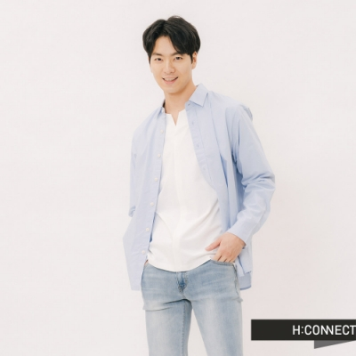 H:CONNECT 韓國品牌 男裝 - 質感純色棉質襯衫-藍